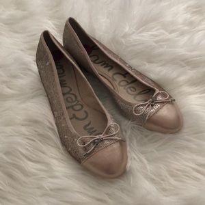 New Sam Edelman pink sequin cap toe leather flats